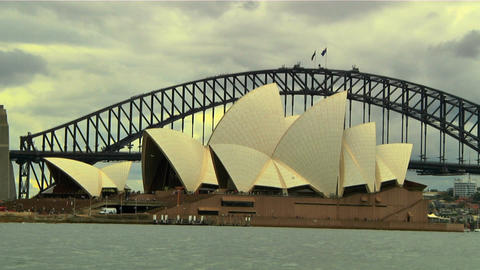 Sydney Harbour Bridge and Opera House 03 Stock Video Footage