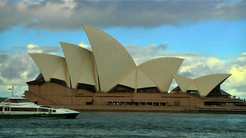 Sydney Opera House and Ship 01 Stock Video Footage
