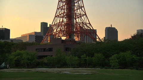 Tokyo Tower 01 PanUp Stock Video Footage