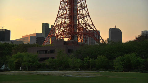 Tokyo Tower 01 PanUp stock footage