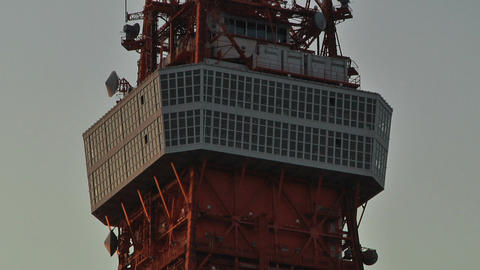 TV Broadcast Tower Middle and Top Part Footage