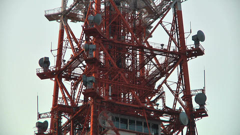 TV Broadcast Tower Middle Part02 Stock Video Footage