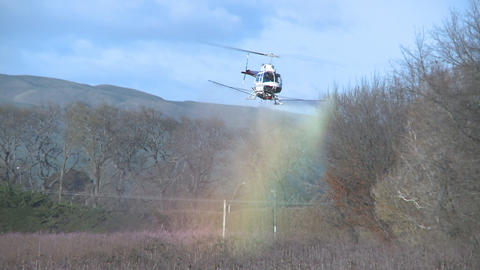 helicoper sprays fungicide Stock Video Footage