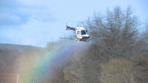helicoper sprays fungicide Footage