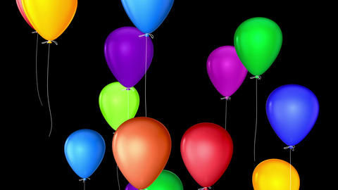 flying balloons with alpha Stock Video Footage