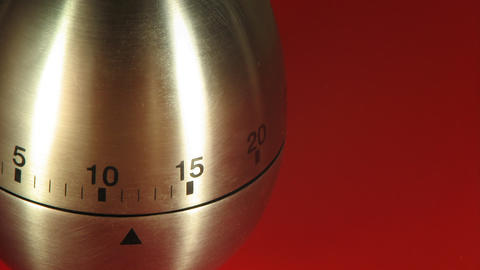 Egg Kitchen Timer On A Red Table stock footage