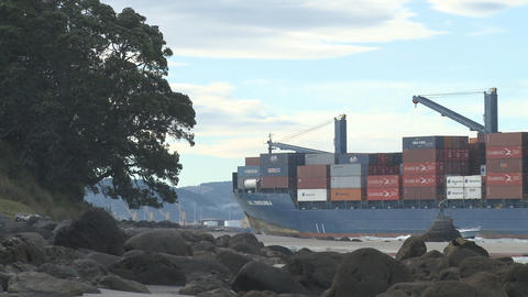 container ship enters port Footage