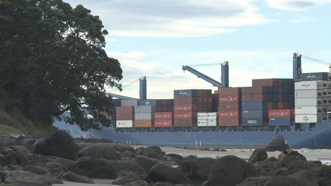 container ship enters port Stock Video Footage