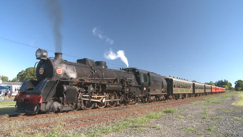 steam train starts up Stock Video Footage