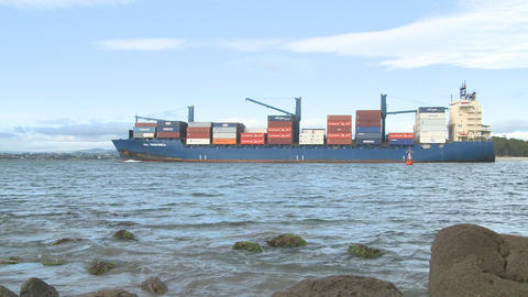 container ship nears port Stock Video Footage