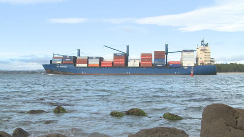 container ship nears port Footage