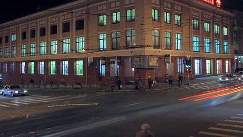 Crossroads night traffic Stock Video Footage