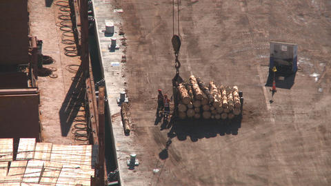 log lift to ship Stock Video Footage