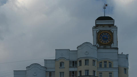 Clouds Over the Tower Clock Stock Video Footage