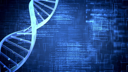 Blue DNA Helix With Flying Text stock footage