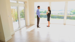 Man And Estate Agent Shaking Hands stock footage