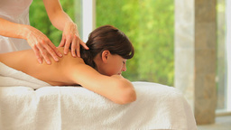 Zen woman having a back massage Footage