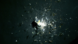 Bulb shattered on a black floor Footage