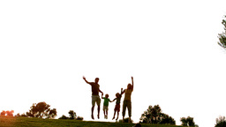 Family jumping in the air in park Footage