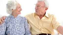 Elderly couple chatting Footage