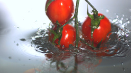 Vine tomatoes falling in water Footage