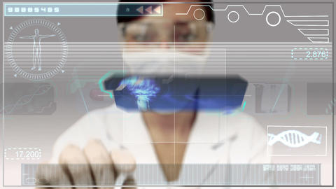 Laboratory worker using medical digital interface Animation
