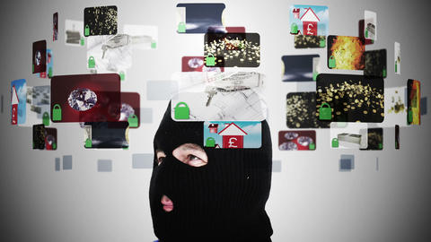 Criminal in balaclava contemplating various securi Animation