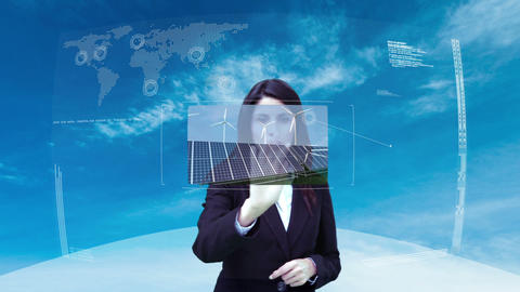 Businesswoman using interactive touchscreen interf Animation
