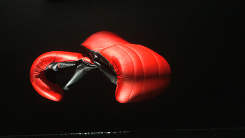 Boxing gloves falling on black background Live Action