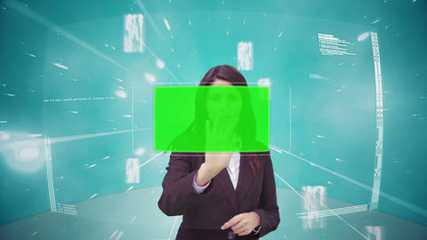 Businesswoman scrolling through interface with chr Animation