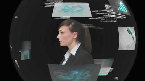 Businesswoman using interactive touchscreen on black background Animation