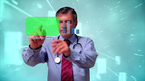 Doctor using futuristic interface with copy space Animation