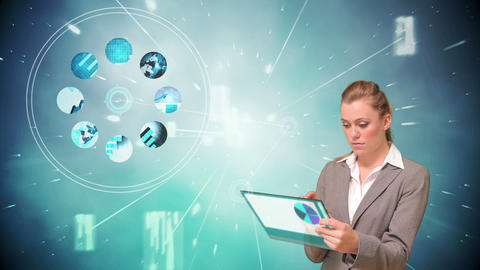 Businesswoman using touchscreen with projection Animation