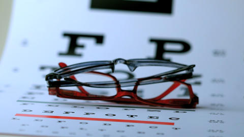 Two pairs of glasses falling on eye test Footage