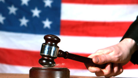 Judge Calling Order With Gavel In American Court stock footage