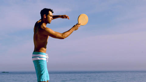 Man playing with racket Footage