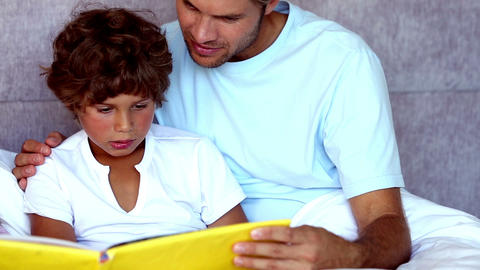 Father reading a story to his son Footage
