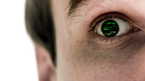 Man Opening His Eye To Reveal Green Scrolling Data stock footage
