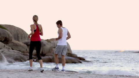 Couple jogging together Footage