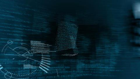 Futuristic screen showing someone using keyboard Animation