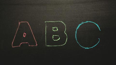 Abc appearing drawn on blackboard with chalk ライブ動画