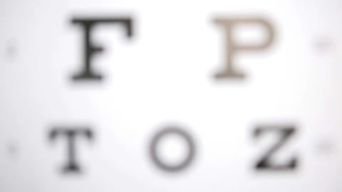 Focus on eye test letters Footage