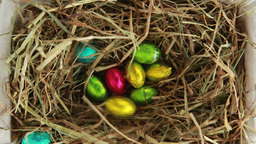 Easter eggs packed falling in the straw ビデオ