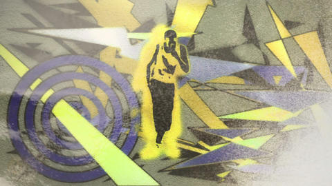 Hand spray painting funky dancing man design Animation