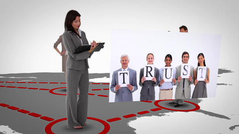 Futuristic montage of business people on a map wit Animation