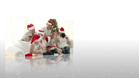 Montage of family celebrating christmas Animation