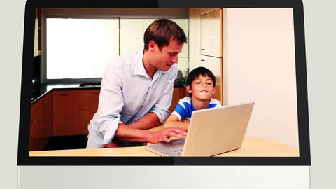 Screens revealing family using laptop Animation