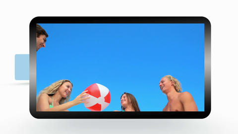 Montage of friends having fun at the beach Animation