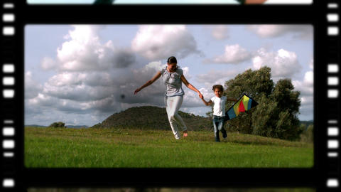 Film roll of a mother and children playing in the park Animation