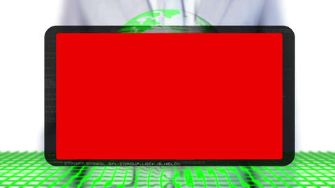 Businessman selecting red screen presentation Animation